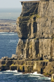 Ireland, County Clare; view of cliffs on Aran Islands, Inishmore